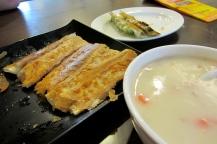 Fried dumplings and corn soup