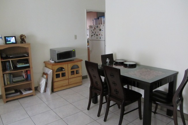 Dining room with microwave