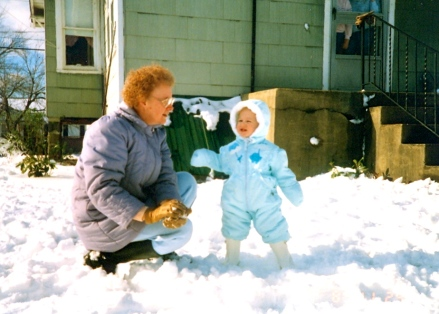 Nan and baby Ashleigh in the snow