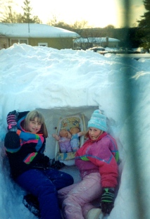 Sara & Ash in the Blizzard fort (with their babies)