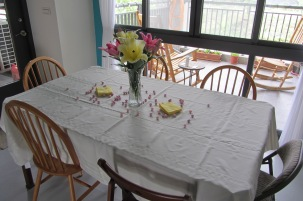 The table, soon to be full of delicious food.