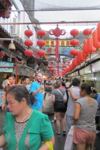 In the night market.