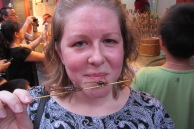 Eating deep fried scorpions