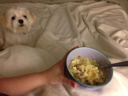 My favorite--sausage, grits, & eggs--for breakfast-in-bed
