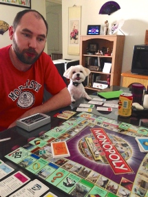 Playing Monopoly together.