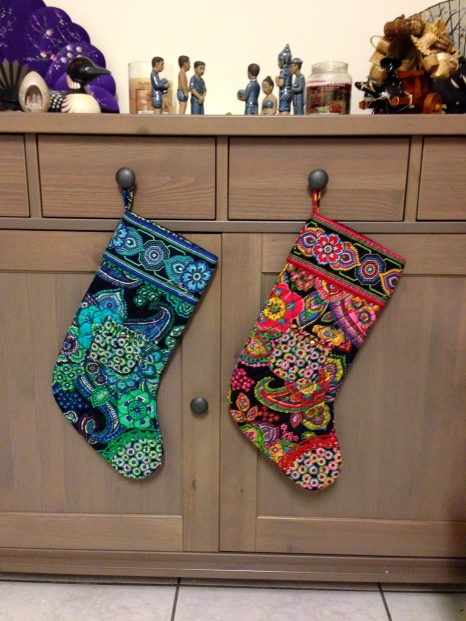 New Christmas stockings from my best friend.